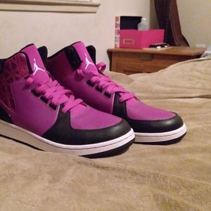 Red-violet and black Jordans
